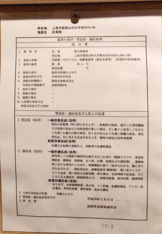 温泉分析書 別表