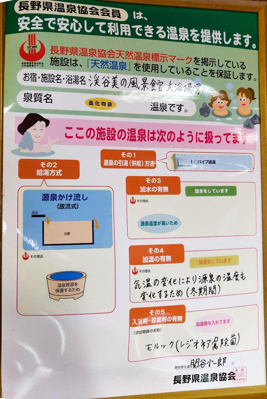 長野県温泉協会天然温泉標示