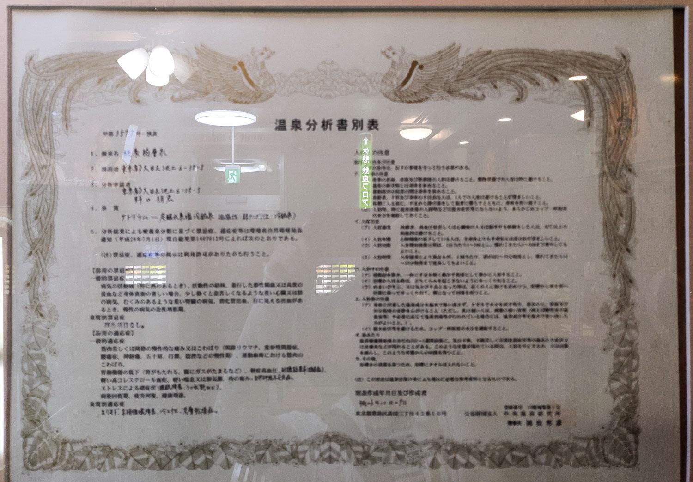 桜館 温泉分析書別表