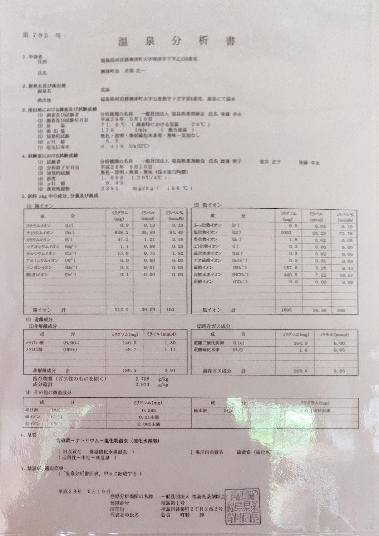 西山温泉 旅館中の湯 荒湯源泉 温泉分析書