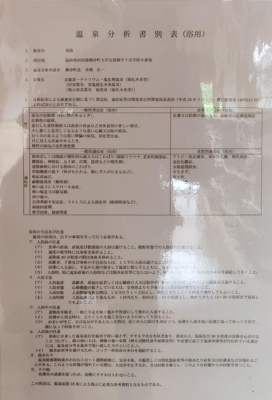 西山温泉 旅館中の湯 荒湯源泉 温泉分析書別表