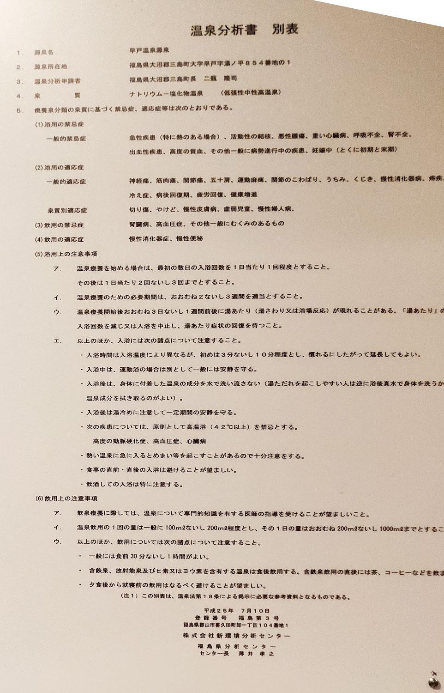 つるの湯温泉分析書別表