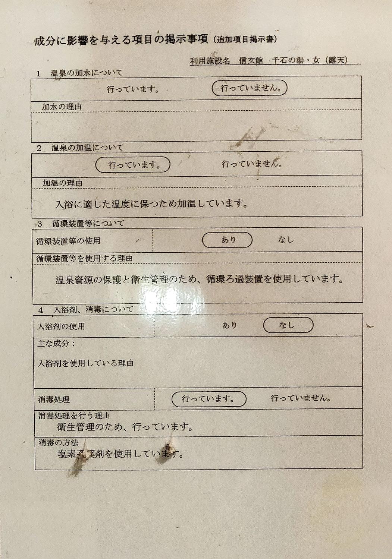 中川温泉信玄館 千石の湯右側 成分に影響を与える事項