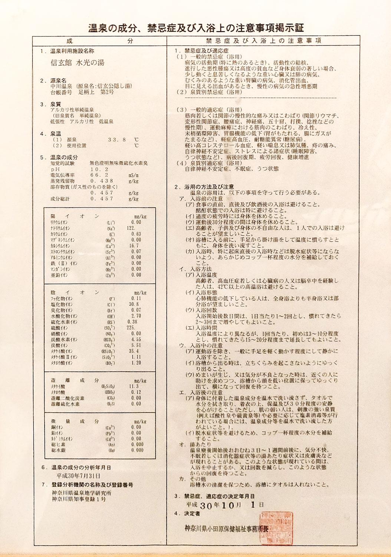 中川温泉信玄館 水光の湯温泉分析書
