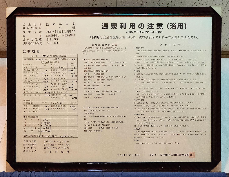 泡の湯温泉三好荘 温泉分析書