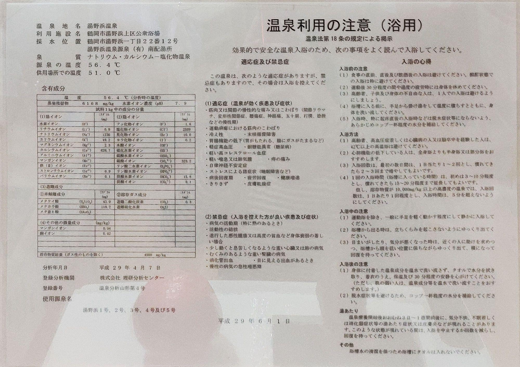 湯野浜温泉上区共同浴場 温泉分析書