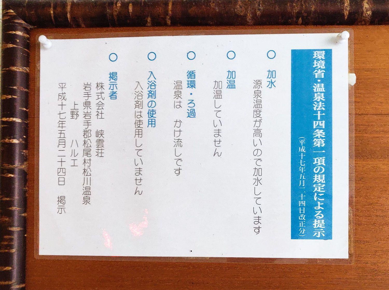 峡雲荘 温泉法十四条第一項の規定による掲示