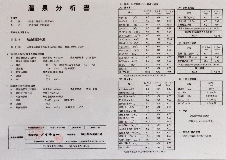新湯治場秋山温泉 温泉分析書