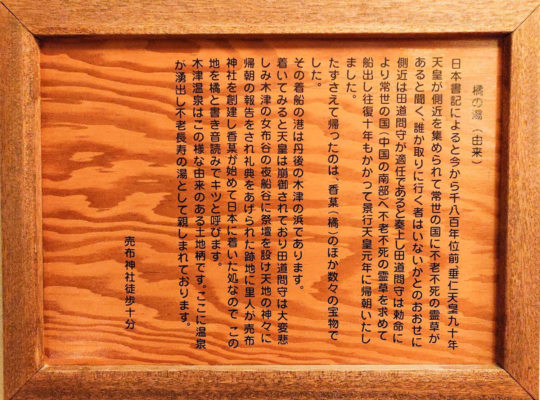 木津温泉ゑびすや 橘の湯由来