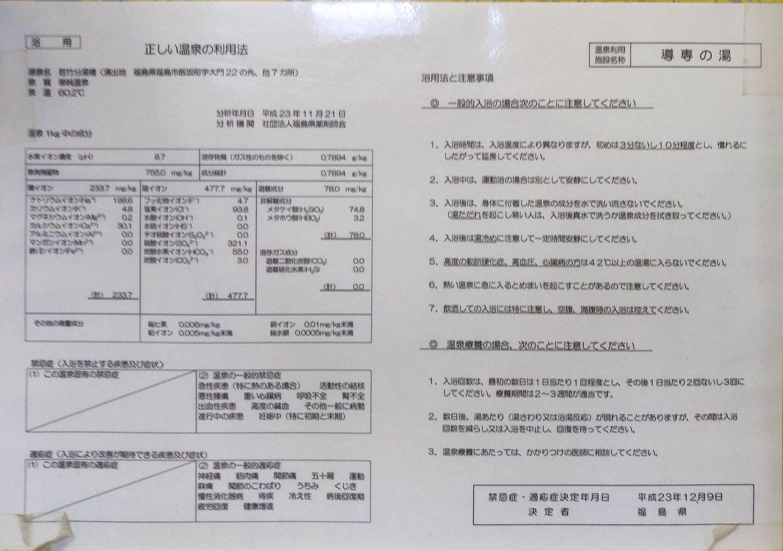 飯坂温泉導専の湯 正しい温泉の利用法