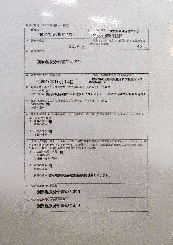 船原温泉 湯治場ほたる 温泉分析書別紙