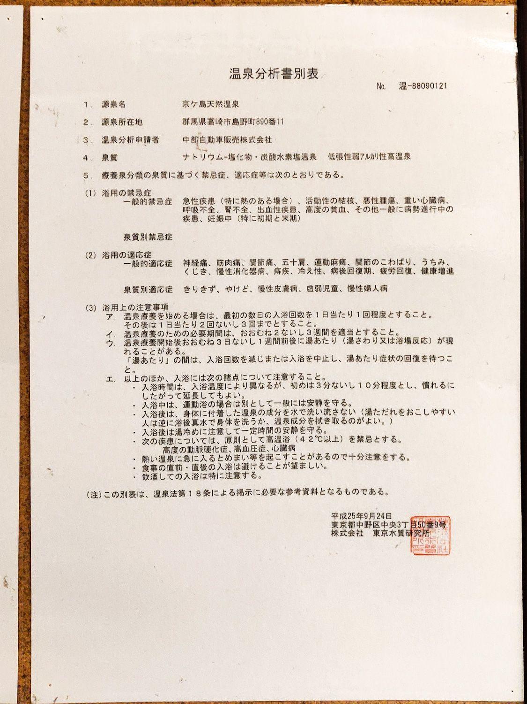 京ヶ島天然温泉湯都里 温泉分析書別表