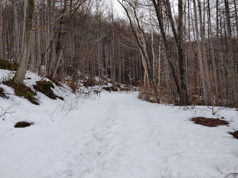 万代鉱への雪道