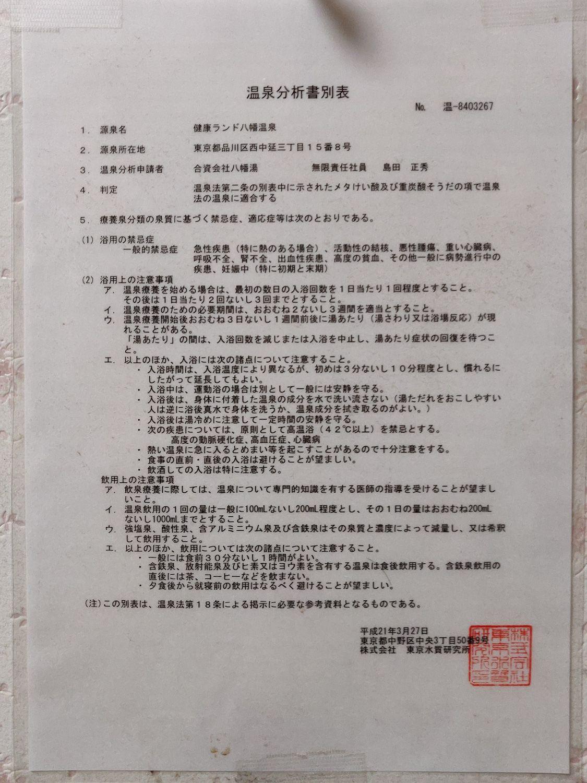 八幡温泉 温泉分析書別表