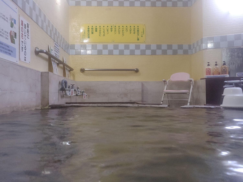椿温泉 しらさぎ 入浴中目線 源泉浴槽側