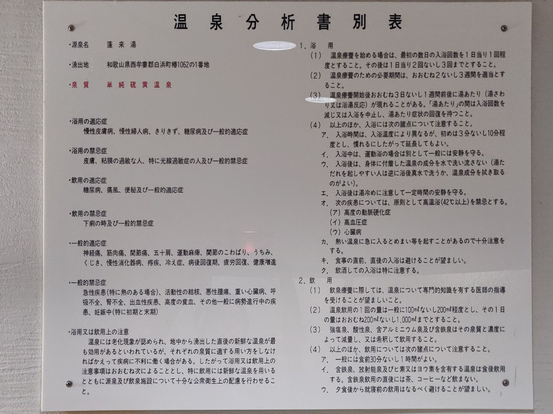 椿温泉 しらさぎ 温泉分析書別表