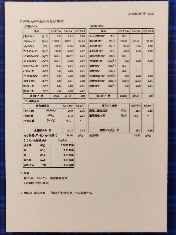 温泉分析書 2P