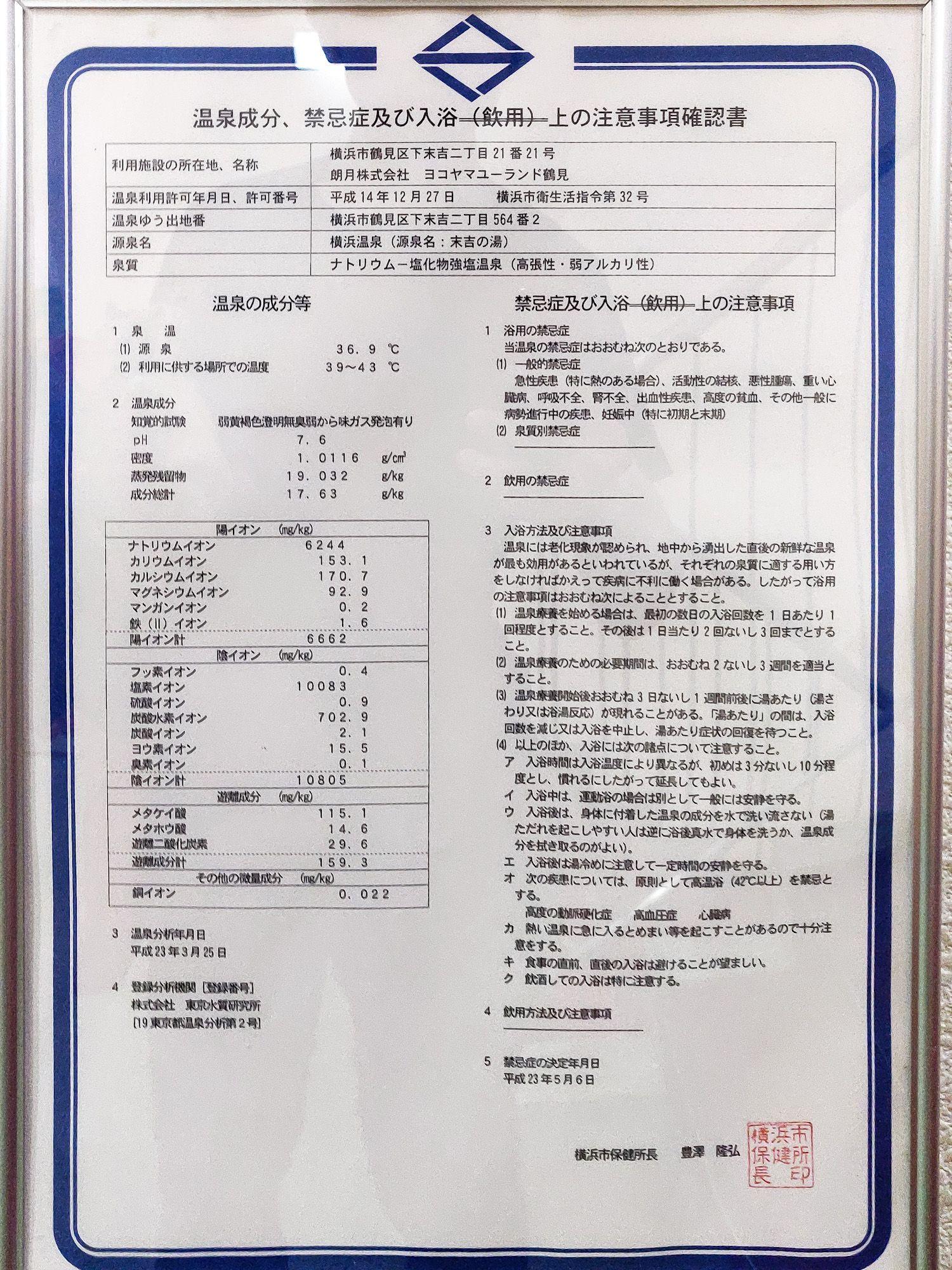 ユーランド鶴見 温泉分析書