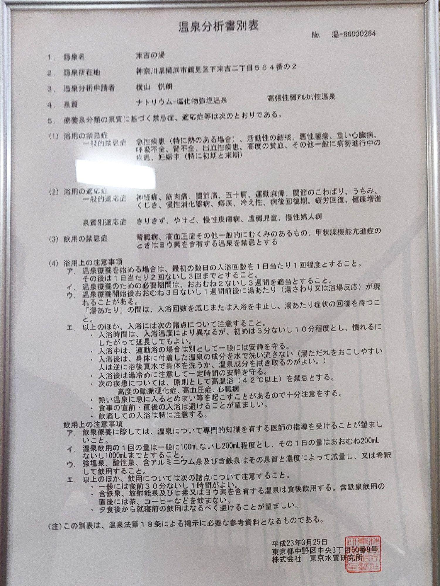ユーランド鶴見 温泉分析書別表