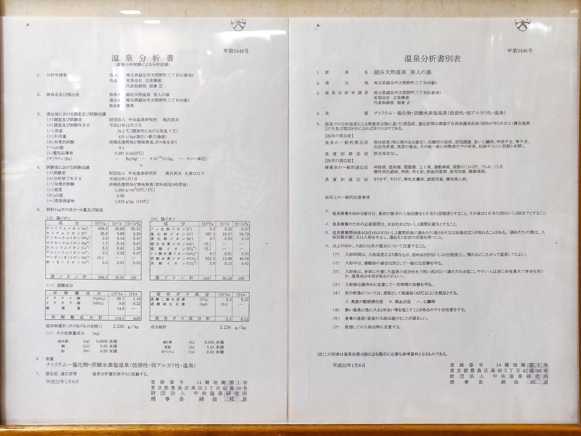 越谷温泉湯の華 温泉分析書