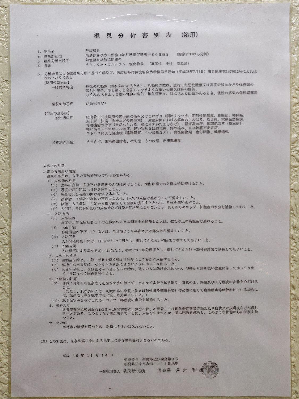熱塩温泉 ふじや 温泉分析表別表 (浴用)