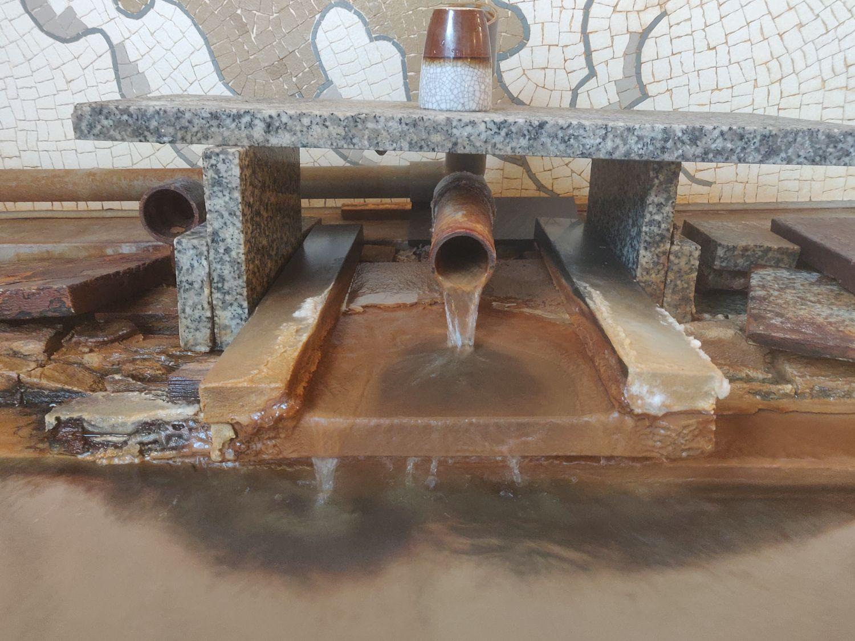 熱塩温泉 ふじや 壁画風呂 湯口