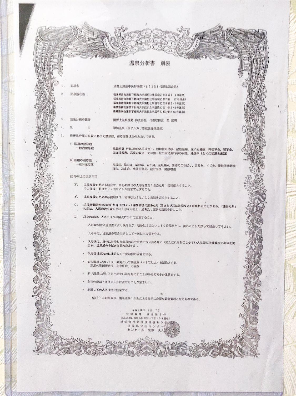 湯野上温泉 星乃井 温泉分析書 別表