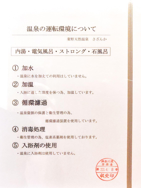 秦野温泉さざんかの湯 温泉の運転環境について (内湯・電気風呂・ストロング・石風呂)