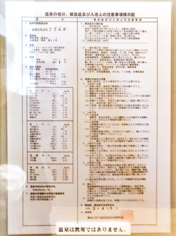 秦野温泉さざんかの湯 温泉分析書