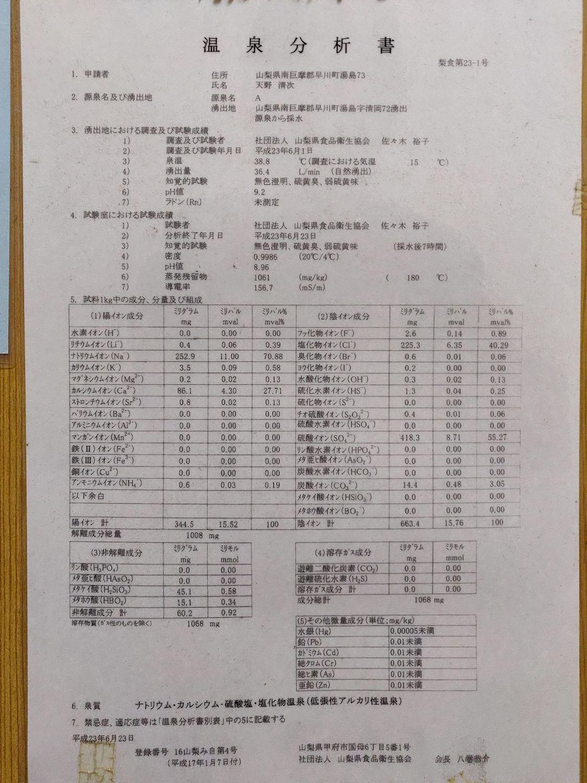 温泉分析書 (平成23年)