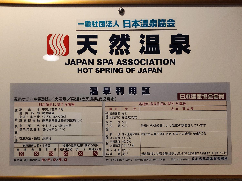日本温泉協会 温泉利用証